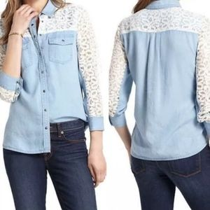 Anthropologie Chambray Crochet Lace Snap Up Top 2